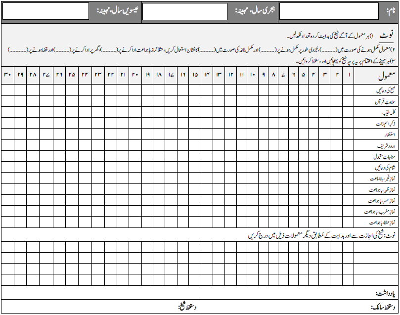 Zikr Monthly Tracking Sheet